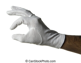 white gloved hand - male hand gesture on white background...