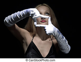 white gloves 2 - portrait of beauty woman with white gloves