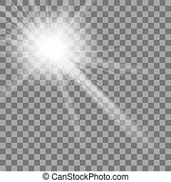 White Glowing Light Burst Explosion On Transparent Background. Bright Star Flare Explode