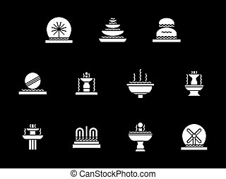 White glyph decorative fountains vector icons set - ...