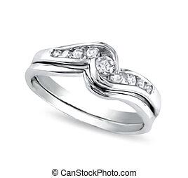 white-gold, anello, vettore, diamonds.
