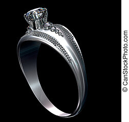 White gold engagement ring with diamond gem.