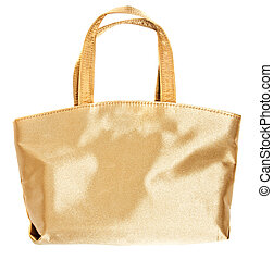 White gold glamorous hand bag isolated on white
