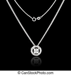 White gold jewelry necklace on a black background