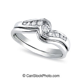 White-gold ring with diamonds. Vector