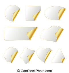 white-gold stickers in different shapes isolated on whitwe,...