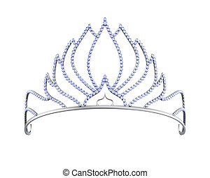 White gold tiara isolated on a white background. 3d rendering