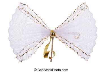 white golden bow