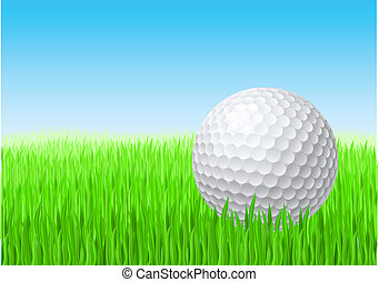 White golf ball in green grass on a blue sky.