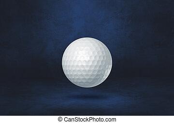 White golf ball on a dark blue studio background
