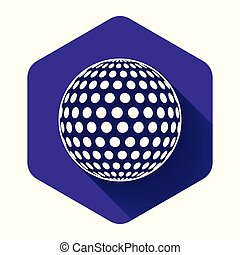 White Golf icon isolated with long shadow. Purple hexagon button. Vector Illustration