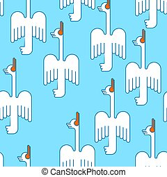 White goose flying pattern seamless. ducks bird of passage background. vector ornament. Baby fabric texture