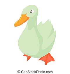 White goose icon in cartoon style