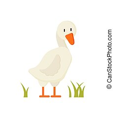 White Goose Standing on Grass Cartoon Style Poster - White...