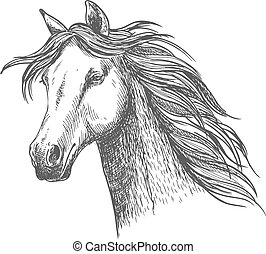 White graceful horse with mane sketch portrait - White...