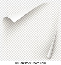 White gradient paper curl with shadow isolated on...