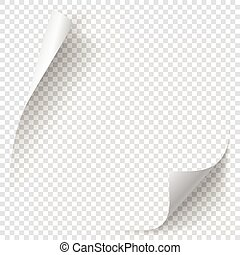 White gradient paper curl