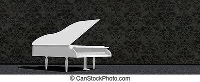 White grand piano - 3D render