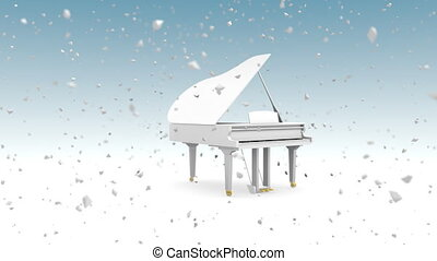 White grand piano with snowfall - Animation of white grand...