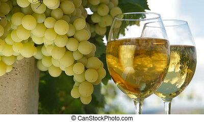 White Grape and Wine Glasses
