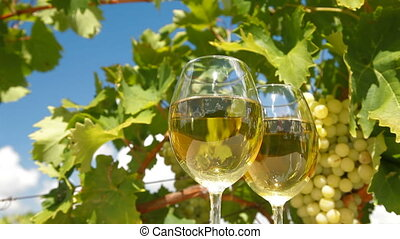 White Grape and Wine Glasses
