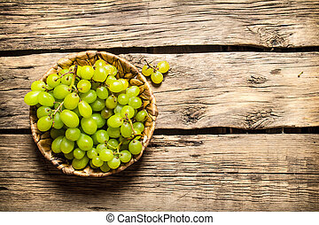 White grapes in a basket.