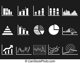 white graph chart icon on black background