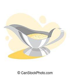 White gravy boat full of sauce. Ceramic bowl