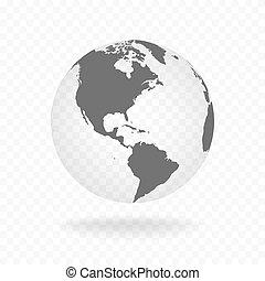 White gray globe glass transparent vector
