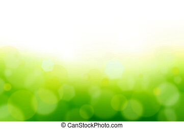 White & green abstract background with bokeh & lens flare effect