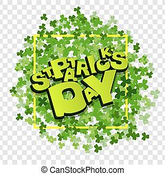 White green clover lettering St Patrick Day frame