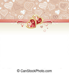 White greeting card with gems and stylized hearts