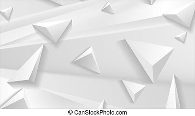 White grey abstract corporate motion design with 3d triangle pyramids. Geometric futuristic background. Seamless looping. Video animation Ultra HD 4K 3840x2160