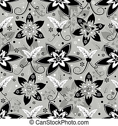 White, grey and black seamless floral pattern