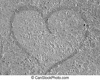 White grey concrete texture with a painted heart, abstract background