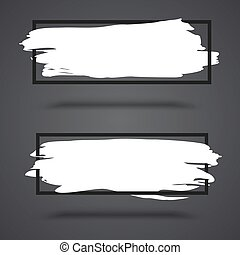White, grunge banners on dark background with frame