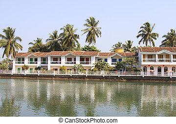 White guest house near the river - Goa, India - February 24,...