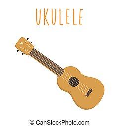 white., guitar., 隔離された, ハワイ, ウクレレ