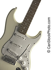 White Guitar Isolated On White