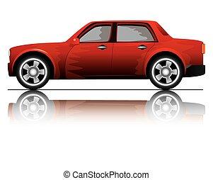 white háttér, árnyék, piros autó