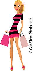 white háttér, bevásárlás, elszigetelt, szőke, nő