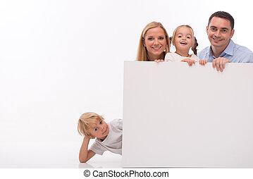 white háttér, elszigetelt, család, boldog