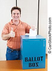 white hím, szavazó
