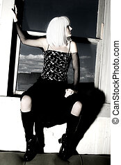 White Haired Beauty - Woman with bright white hair and goth...