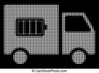 White Halftone Battery Delivery Truck Icon