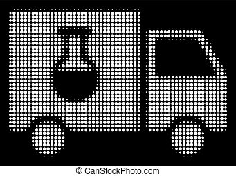 White Halftone Chemical Delivery Truck Icon