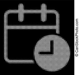 White Halftone Date Time Icon - Halftone pixelated date time...