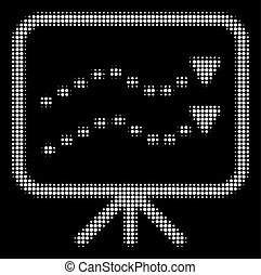 White Halftone Dotted Trends Board Icon - Halftone dotted...