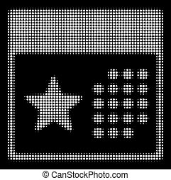 White Halftone Holiday Calendar Icon - Halftone pixelated...