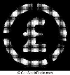 White Halftone Pound Financial Diagram Icon - Halftone pixel...